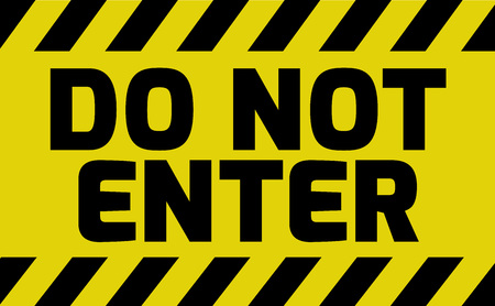Do not enter sign yellow with stripes, road sign variation. Bright vivid sign with warning message.