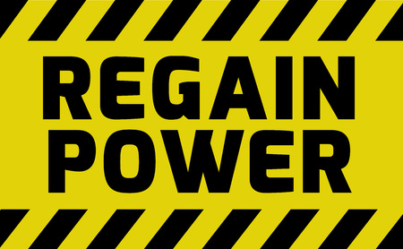 Regain Power sign yellow with stripes, road sign variation. Bright vivid sign with warning message. Illustration
