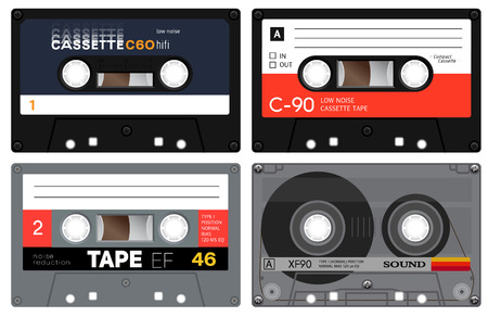 eighties: Collection of four audio cassettes tapes. Realistic design. Audio records of the seventies and eighties. Vintage analogue technology. Old sound mix records.
