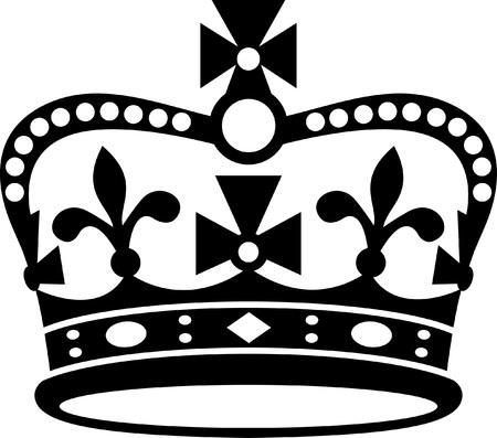 白い背景のイギリス黒いアイコン、黒いシルエットの王冠.古典的なイギリスの王冠。イギリスの君主制の記号。