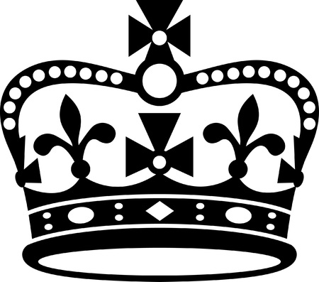 Crown van Groot-Brittannië zwart pictogram, zwart silhouet op een witte achtergrond. Klassieke Britse kroon. Teken van de monarchie van het Verenigd Koninkrijk.
