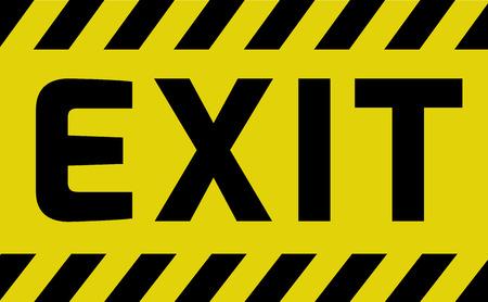 Signe de sortie jaune avec des rayures, variation de signe de route. Signe lumineux vif avec message d'avertissement.