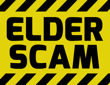 scam: Elder Scam sign yellow with stripes, road sign variation. Bright vivid sign with warning message Scam alert.