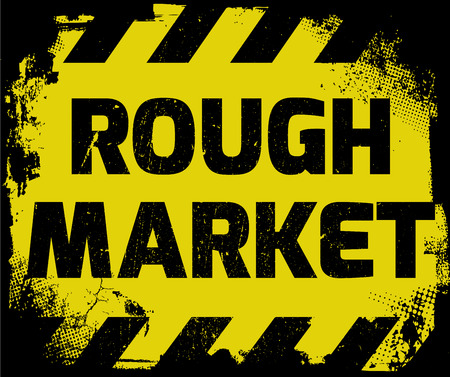 equities: Rough Market sign yellow with stripes, road sign variation. Bright vivid sign with warning message. Grunge distressed effects of rusty metal plate are on separate layer. Illustration