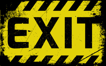 firealarm: Exit sign yellow with stripes, road sign variation. Bright vivid sign with warning message. Grunge distressed effects of rusty metal plate are on separate layer. Illustration