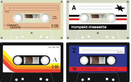 compact cassette: Front view of plastic cassette tapes on white background. Realistic design. Retro technology, vintage cassette tapes. German language present meaning Compact cassette.