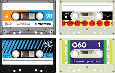 used: Illustration of cassette tapes isolated on white background. Used in cassette recorders, stereo and mono. Media of past times. Realistic design. German language present meaning Compact cassette. Illustration