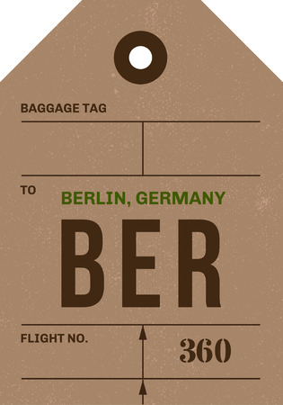 promising: Vintage Luggage Tag clean and worn out grungy. Real looking airport luggage tag in two graphic styles. Promising adventure to Berlin, Germany. Illustration