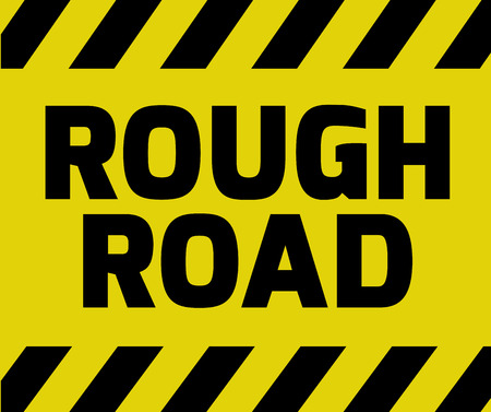 Rough Road sign yellow with stripes, road sign variation. Bright vivid sign with warning message. Illustration