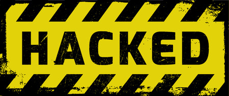 mal: Hacked sign yellow with stripes, road sign adaptation. Yellow sign with warning message.
