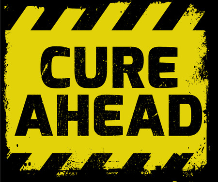 Cure Ahead sign yellow with stripes, road sign variation. Bright vivid sign with warning message. Grunge distressed effects of rusty metal plate are on separate layer. Illustration