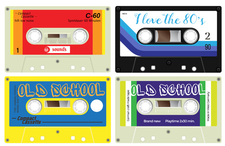 Collection of four plastic audio cassettes. Colorful music tapes. Old technology, realistic retro design. German language present meaning play time. Illustration