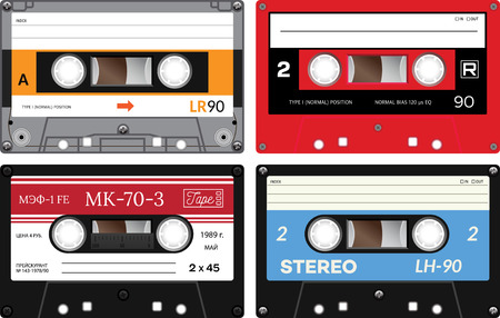 eighties: Vintage cassette tapes. Analogue technology. Sound mix of the seventies and eighties. Old out of date format of nostalgy. One russian tape with words in russian meaning price, date of issue and such. Illustration