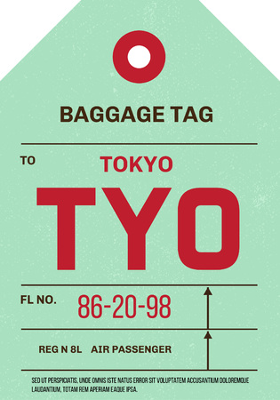 Vintage Luggage Tag clean and worn out grungy. Real looking airport luggage tag in two graphic styles. Promising adventure to Tokyo, Japan.