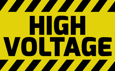 High Voltage sign yellow with stripes, road sign variation. Bright vivid sign with warning message.