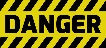 risky situation: Danger sign yellow with stripes, road sign variation. Bright vivid sign with warning message. Illustration