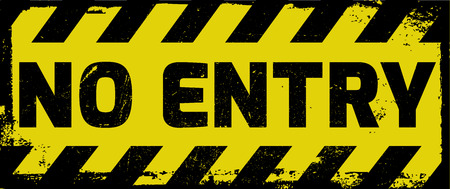 no trespassing: No entry sign yellow with stripes, road sign variation. Bright vivid sign with warning message.