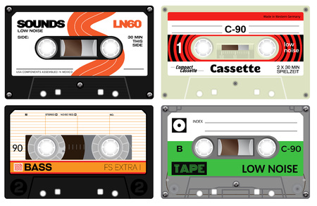 analogue: Vintage cassette tapes. Analogue technology. Sound mix of the seventies and eighties. Old out of date format of nostalgy. German language present meaning play time.