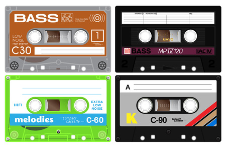 eighties: Four audio cassette tapes. Detailed illustration of vintage analogue technology. Sound mix of the eighties. Old out of date format of nostalgy.