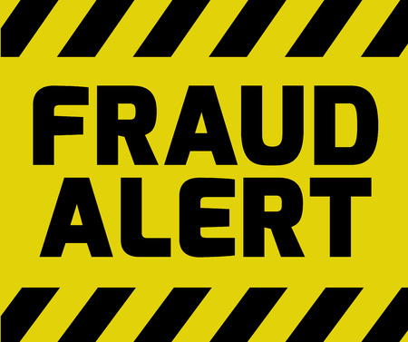 Fraud Alert sign yellow with stripes, road sign variation. Bright vivid sign with warning message.