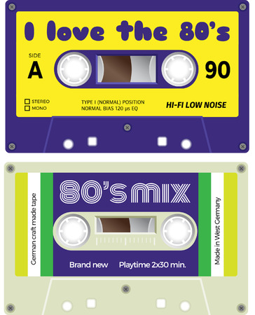 nostalgy: Vintage cassette tapes. Analogue technology. Sound mix of the seventies and eighties. Old out of date format of nostalgy. Illustration