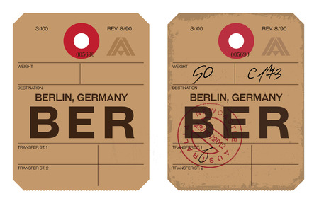 Vintage Luggage Tag clean and worn out grungy. Real looking airport luggage tag in two graphic styles.