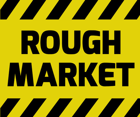 stockmarket: Rough Market sign yellow with stripes, road sign variation. Bright vivid sign with warning message.