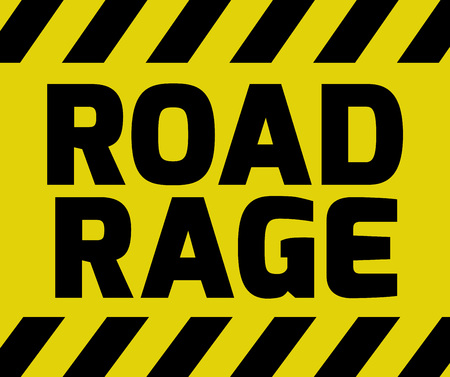 road rage: Road Rage sign yellow with stripes, road sign variation. Bright vivid sign with warning message.