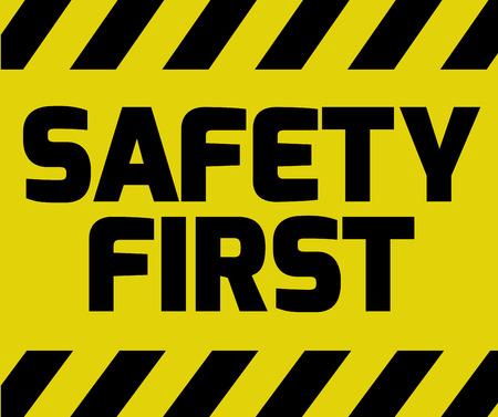 安全はまず道路標識バリエーションのストライプと黄色を署名します。警告メッセージと明るい鮮やかなサイン。