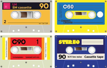 walkman: Front view of plastic cassette tapes on white background. Realistic design. Retro technology, vintage cassette tapes. German language present meaning play time, manufacturer and such.