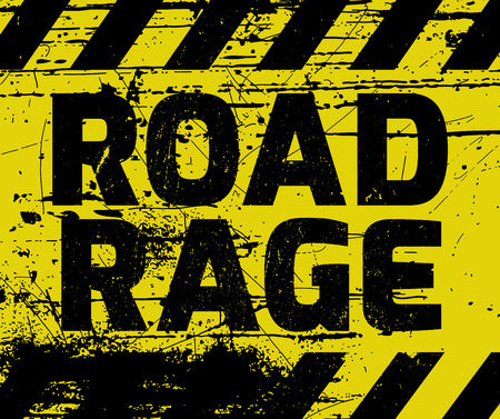 enraged: Road Rage sign yellow with stripes, road sign variation. Bright vivid sign with warning message.
