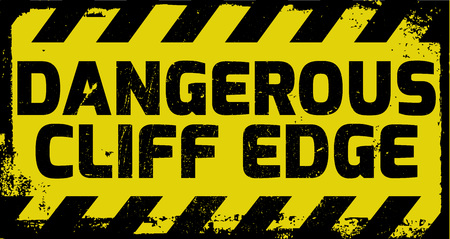 cliff edge: Dangerous cliff edge sign yellow with stripes, road sign variation. Bright vivid sign with warning message.