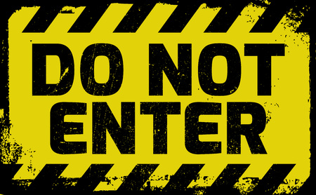 enter: Do not enter sign yellow with stripes, road sign variation. Bright vivid sign with warning message.