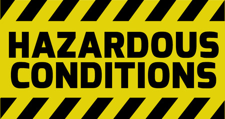 Hazardous Conditions sign yellow with stripes, road sign variation. Bright vivid sign with warning message. Illustration