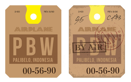 airport luggage: Vintage Luggage Tag clean and worn out grungy. Real looking airport luggage tag in two graphic styles.