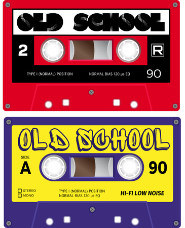 eighties: Vintage cassette tapes. Analogue technology. Sound mix of the seventies and eighties. Old out of date format of nostalgy. Illustration