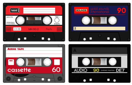 seventies: Early seventies cassette tapes. Detailed illustration of retro sound records. Analogue technology of sound recording and mixing. One russian tape with words in russian meaning price, date of issue and such. Illustration