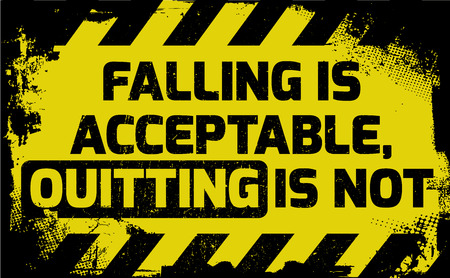 Falling is acceptable sign yellow with stripes, road sign variation. Bright vivid sign with warning message. Grunge distressed effects of rusty metal plate are on separate layer.