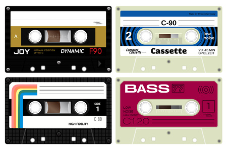 eighties: Four audio cassette tapes. Detailed illustration of vintage analogue technology. Sound mix of the eighties. German language present meaning play time. Illustration