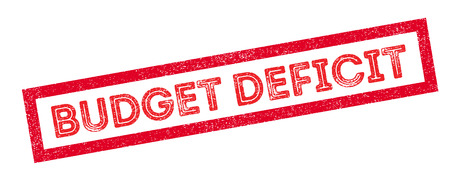 deficit: Budget Deficit rubber stamp on white. Print, impress, overprint.