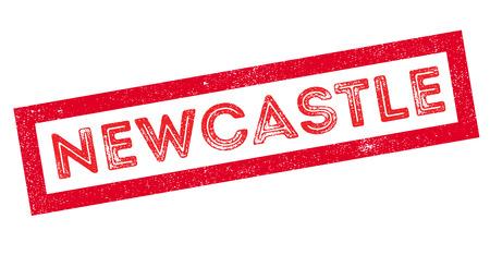Newcastle rubber stamp on white. Print, impress, overprint. Illustration