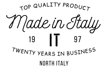 Made in Italy stamp with text and flag. A product seal, rubber stamp of quality. Sign of unique national product.