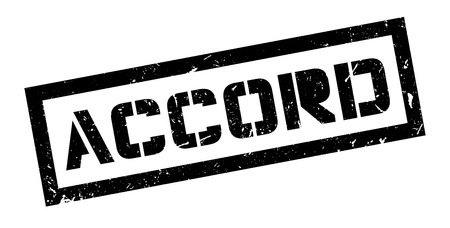 declare: Accord rubber stamp on white. Print, impress, overprint.