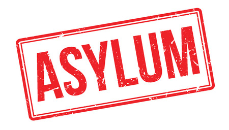 Asylum Stempel auf weiß. Drucken, beeindrucken, Aufdruck.