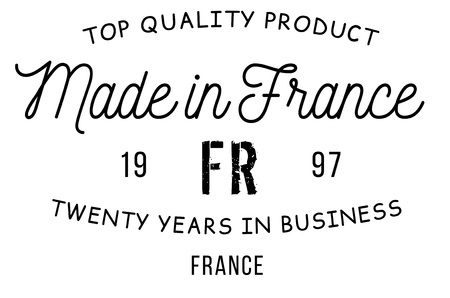 Made in France stamp with text and flag. A product seal, rubber stamp of quality. Sign of unique national product.