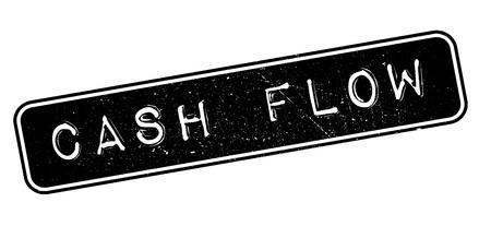owe: Cash Flow rubber stamp on white. Print, impress, overprint.