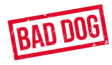 dogie: Bad Dog rubber stamp on white. Print, impress, overprint. Illustration