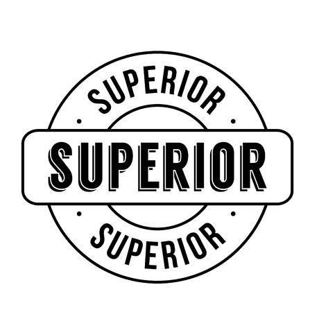higher quality: Superior rubber stamp isolated on white background. Classic stamp graphic with modern type, clean and crisp.