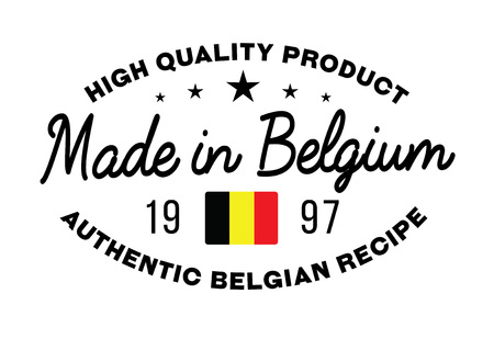 Made in Belgium stamp with text and flag. A product seal, rubber stamp of quality. Sign of unique national product.