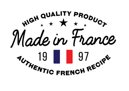 french produce: Made in France stamp with text and flag. A product seal, rubber stamp of quality. Sign of unique national product.